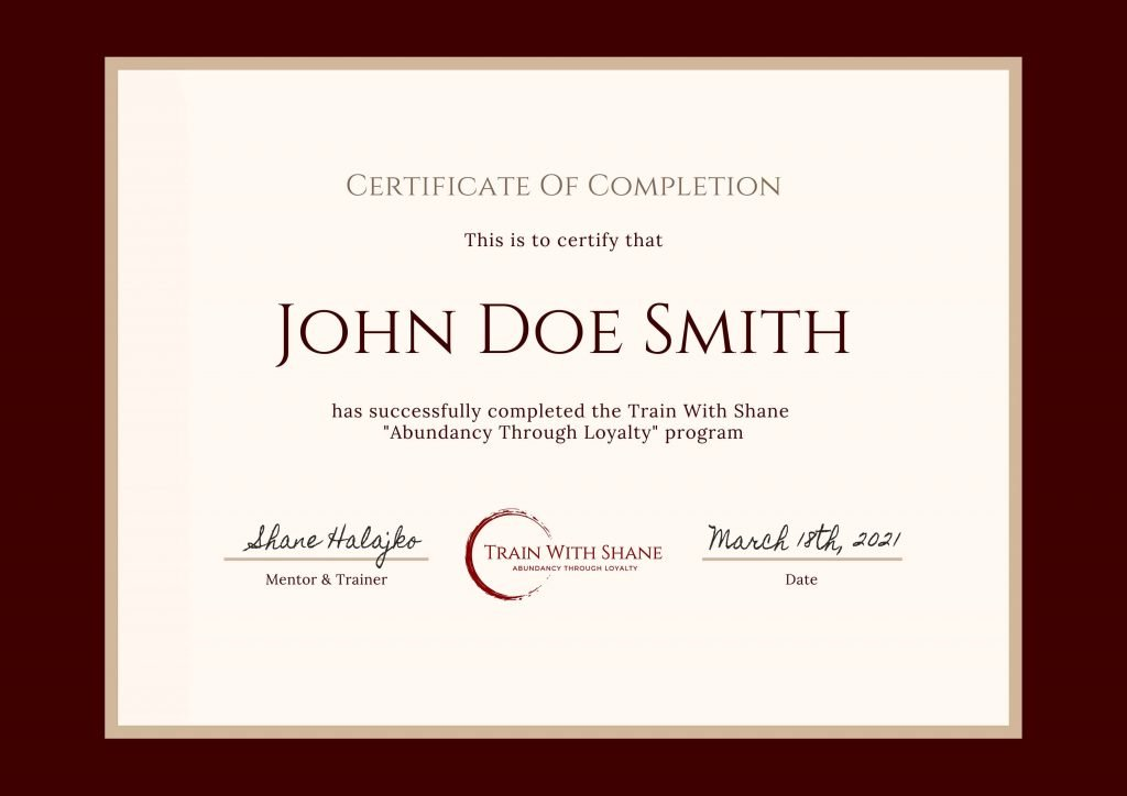 Train With Shane Certificate